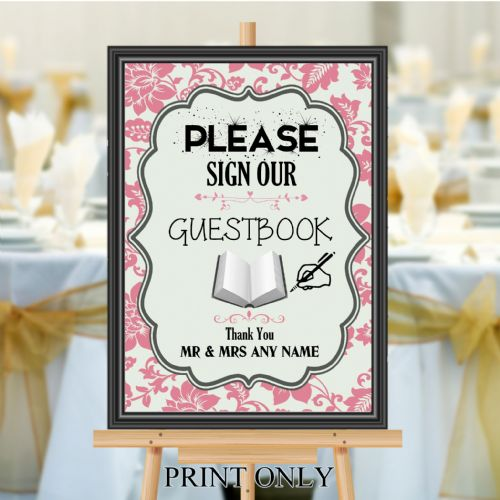Personalised Wedding Please sign our Guest book Sign Poster Banner N186
